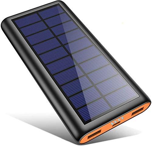 kilponen Batterie Externe Solaire 26800mAh, Chargeur Solaire Portable avec 2 Sorties USB Spécial pour Activités en Plein Air, Power Bank Solaire Compatible avec Tous Les Smartphones, Tablettes