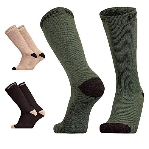 UPHILLSPORT Calcetines de trekking y senderismo, calcetines térmicos de lana merino, línea Arctic Tactical, color marrón, 35-38