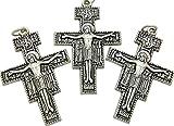 Crucifix Juego de tres Crucifijos de San Damiano de 6,5 cm de altura. Cruz Franciscana de metal. Cruz de San Damiano. Cruz del Papa Francisco. Crucifijo del Papa Franciscano