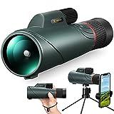 Cococam 10-20X50 Telescopio Monocular HD de Largo Alcance con Prisma Óptico BAK4 Catalejo para Movil Zoom con Trípode y Soporte de Teléfono para Observación de Aves, Caza y Viajes, Impermeable IPX7
