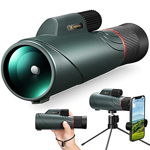 10-20X50 Telescopio Monoculare Alta Potenza, COCOCAM FMC BAK4 HD Canocchiale Monocolo Potente con Clip per Cellulare, Impermeabile IPX7 Monocoli per Bird Watching, Caccia, Campeggio, Eventi Sportivi