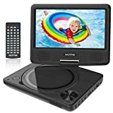 WONNIE 9' Portable DVD Player for Kids, Travel DVD Player for Car, with 7' Swivel Screen, Remote Control, USB / SD Card Reader, Support Last Memory and Region Free ( Black)