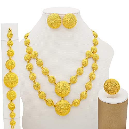 TCross Joyería de Dubai con Incrustaciones de Oro y Pendiente, Juego de Bodas francesas africanas para Mujer, joyería de 24k, Regalo Nupcial etíope (Metal Color : BJ825 1)