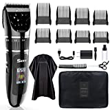 SKEY Professional Hair Clippers - Rechargeable Hair Beard Trimmer Cordless Haircut Kit with Titanium & Ceramic Waterproof Blades for Wet/Dry Cut, 2-Speed Adjustable with Barber Cape, and Travel Bag