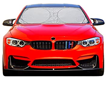 A1 Sun Shade for Car Windshield with Storage Pouch - Highly Durable 210T Nylon Foldable Car Window Visor Blocks UV Rays & Heat Protection - Interior Accessories Car - Large  64 Inches x 31 Inches