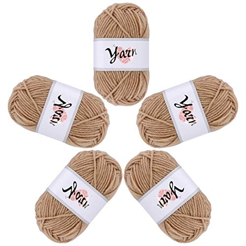 Fils à tricoter 5 rouleaux de fils acryliques fil de bonbons à tricoter durable 4 brins de laine ensemble de laine au crochet fait à la main 50g de fil au crochet pour les débutantes femmes khaki