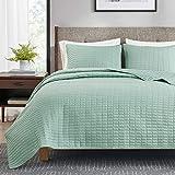 Hyde Lane 3 Piece Reversible Bedspreads King Size Quilt Set   104x90 – Seafoam   Soft Microfiber Lightweight Coverlet Bedspread   All Season   Bed Cover Blanket (1 Quilt + 2 Shams)