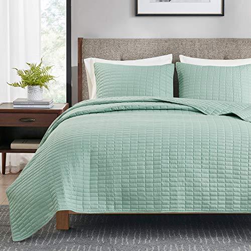 Hyde Lane - Juego de edredón reversible de 2 piezas para cama individual o individual XL | 66 x 90 cm – Seafoam | colcha ligera de...