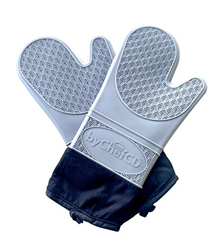 Long Silicone Oven Mitts - Silicone Mitts, Heat Resistant Mitts, Non-Slip Professional Cooking Mitts, Kitchen Potholders and Oven Mitts, Heat Resistant Grill Gloves, Oven Mitts (Grey, Large)