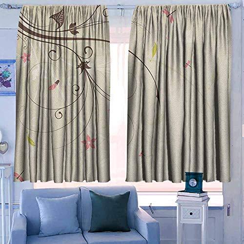 Lovii gordijnen voor slaapkamer donkerder en thermische isolerende Draperies Dragonfly natuur thema kleurrijke vogels als insecten vliegen op vlam abstract beeld Violet roze en blauw