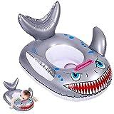 Flotador Inflable para Bebé, BETOY Anillo natación, Asiento natación para niños, Asiento natación, Anillo natación con tiburón, Anillo natación Inflable para Piscina con Asas(Gris)
