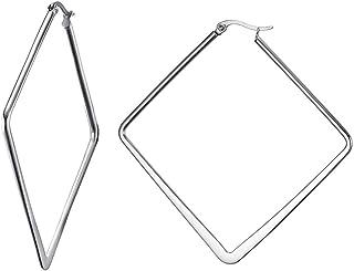 Vnox Acciaio Inossidabile Grande Quadrato Scava Fuori Gli Orecchini del Cerchio della Geometria di Minimalist per Le Donne...
