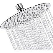 Sooreally Rain Shower Head High Pressure, 8 Inch Stainless Steel Rainfall Showerhead, Mirror-like Look, Easy Installation, Swivel Spray Angle, Voluptuous Shower Experience, Chrome Finish