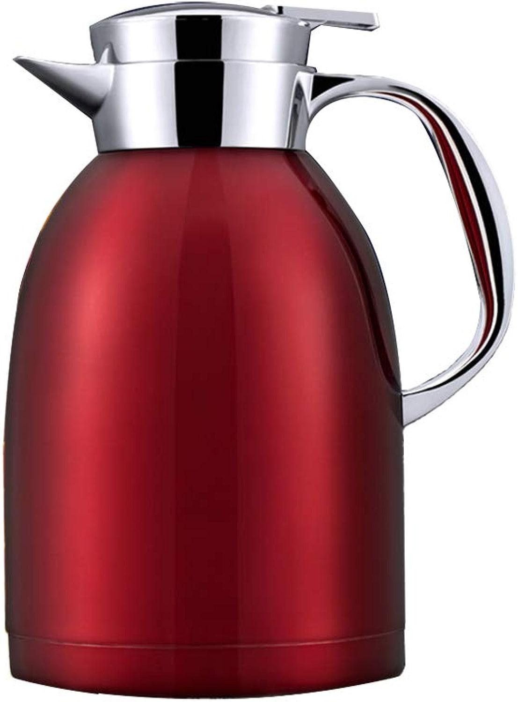 FYCZ Pot D'isolation, Acier Inoxydable 304 2L Double Paroi Tasse de Voyage Isolée Dans Une Cafetière Sous Vide B4 (Couleur   rouge)