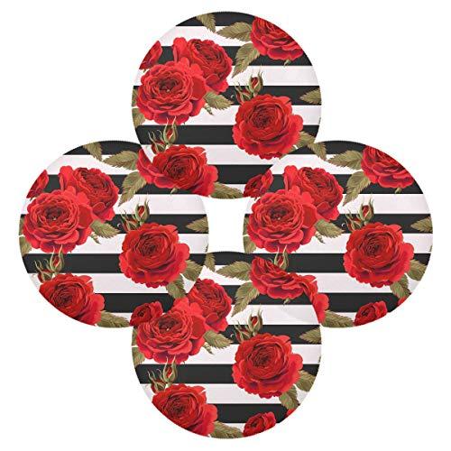 Hunihuni Rundes Platzdeckchen mit roten Rosen, rutschfest, hitzebeständig, für Küche, Esstisch, 1 Stück, Polyester, Mehrfarbig, 15.4x15.4inx4