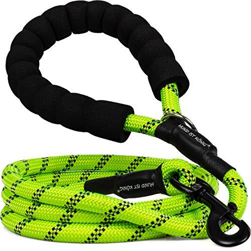 Führleine Hund 1,5m mit gepolsterter Handschlaufe, reflektierende Hundeleine große Hunde / mittelgroße Hunde / kleine Hunde, stabile Trainingsleine inkl. eBook (Gelb-Grün)