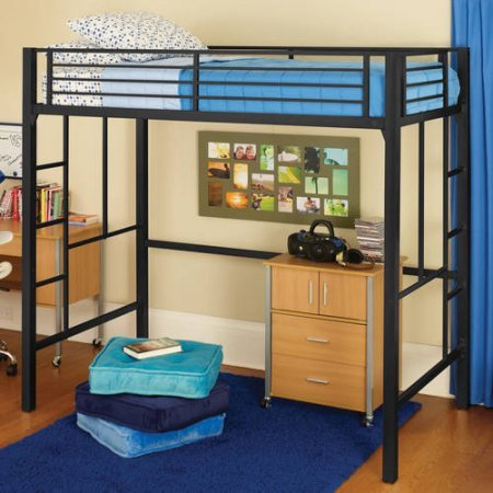 YourZone Metal Twin Loft Bed, Multiple Colors