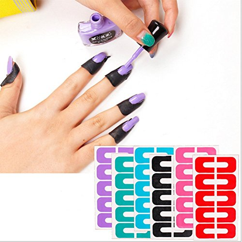 Nikgic 6pcs Nail Art Protector Nail Polish Varnish Glue Anti-overflow Spill Proof Manicure Protector Tools Shield Plantillas Herramientas de Moldes