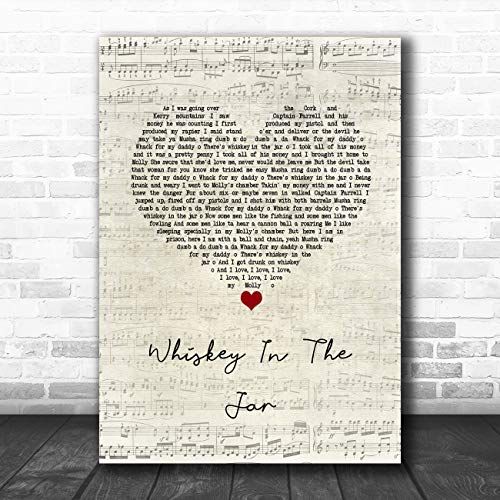 Whiskey in The jar 1973 Script Heart Song Lyric Quote Muziek Poster Print Medium A4