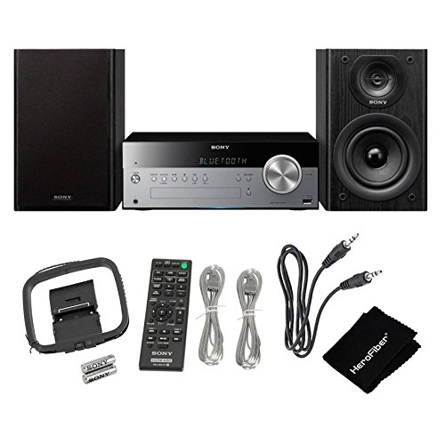 Sony All-in-one Stylish Micro Music Hi-Fi Bookshelf Stereo System for Home with Bluetooth & NFC, USB, CD Player & AM/FM Radio + Remote + Aux Cable + HeroFiber Cleaning Cloth
