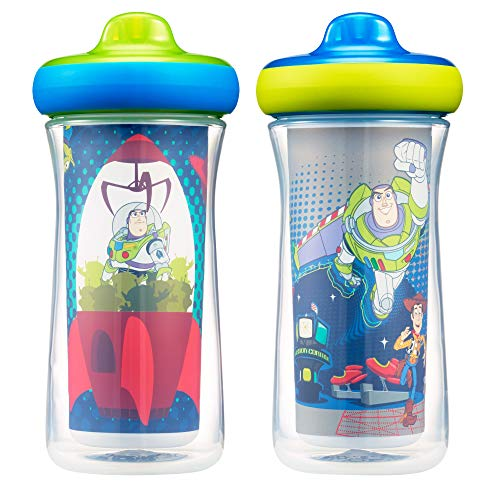 The First Years Disney/Pixar Toy Story Insulated Hard Spout Sippy Cups, 9 Ounce, Blue/Green, one size
