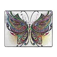Butterfly Flower カーペット,洗濯機で洗える160cmx120cm 寝室、居間、寮、滑り止めフロアマット、厚くて丈夫な フロアマット,人気のオシャレ カーペットランキング