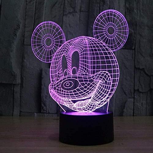 Semirremolque De Luz Nocturna Con Ilusión 3D, Interruptor Táctil De Cambio De 7 Colores, Lámpara De Escritorio Con Decoración Led Alimentada Por Usb Para Regalo De Vacaciones, Cumpleaños-Mickey Mouse