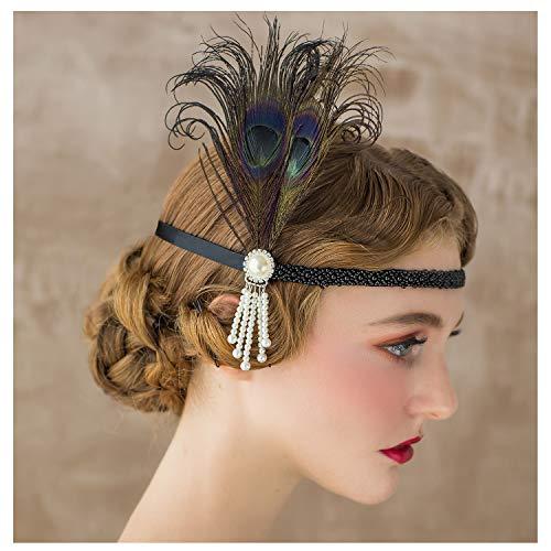 SWEETV 1920s Headpiece Flapper Headband, Pearl Peacock Feather Hair Band, Great Gatsby Accessoreis for Women, Black