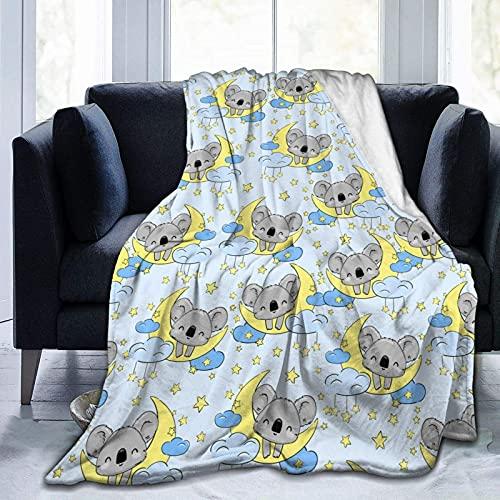 Manta de Felpa Suave Cama Lindo Koala Duerme Estrella Luna Manta Gruesa y Esponjosa Microfibra, Suave, Caliente, Transpirable para Hogar Sofá , Oficina, Viaje