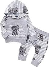 BBSMLIN Ropa Bebe Niño Otoño Invierno 0 a 3 6 9 12 18 Meses Recien Nacido Sudadera con Capucha de Manga Larga con Estampado de Elefante + Pantalón