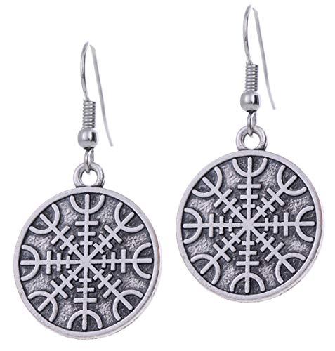 TEAMER Helm of Awe Norse Protection Dangle Earrings Viking Amulet Earrings for Women