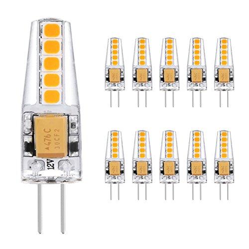 G4 LED Lampen 2W, KOHREE LED Birnen Ersatz 20W Halogenlampen 2900K Warmweiß 220lm 12V AC/DC LED Leuchtmittel G4 LED Birne Kein Flackern Nicht Dimmbar 360°Lichtwinkel Stiftsockellampe Glühbirnen 10er