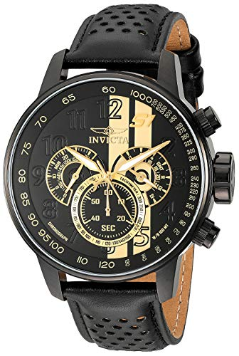 Invicta Men's S1 Rally 48mm Stainless Steel Chronograph Quartz Watch with Black Leather Band, Black (Model: 19289)