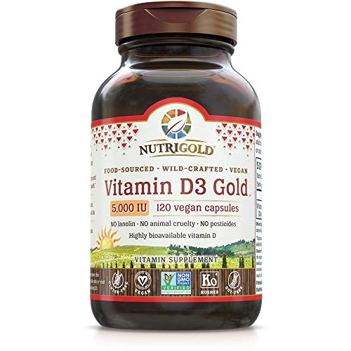 Nutrigold Food-Sourced Vitamin D3 5000 IU, 120 Capsules (Natural Vitamin D from Lichen, Certified Vegan, Kosher, Non-GMO)