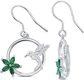 Marquise Ruby Emerald Blue Sapphire Gemstone Sterling Silver Humming Bird Dangle Earrings