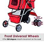 PawHut Pet Stroller Cat Dog Basket Zipper Entry Fold Cup Holder Carrier Cart Wheels Travel Red 17