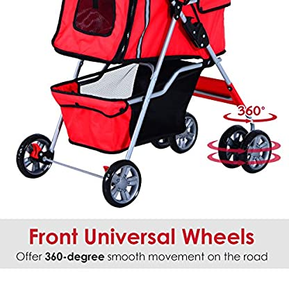 PawHut Pet Stroller Cat Dog Basket Zipper Entry Fold Cup Holder Carrier Cart Wheels Travel Red 8