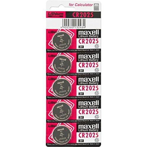 Maxell CR2025 für LED Wachskerzen Kunstwachskerzen / Weinachtsbeleuchtung / Tischbeleuchtung - Batterien Knopfzellen 5er Streifen