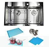 33 Inch Drop In Topmount Stainless Steel Kitchen Sink Package 16 Gauge Double 60/40 Bowl Basin w/ 9 Gauge Deck - Complete Sink Pack