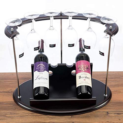 AYHa Holz Weinglas Rack , Freistehende und Arbeitsplatte Weinregal - Halten Sie 2 Weinflaschen und 6 Weinglas für Bar Weinkeller Keller Schrank Speisekammer