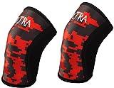 Mangas hasta la rodilla Ultra Fitness (1 par) Soporte y compresión para levantamiento de pesas, pesas y crossfit - Hombres y mujeres, rojo y negro sublimados