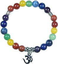 Myhealingworld Om Charm Seven Chakra Healing Power Yoga 8mm Natural Beads Stretchable Bracelet