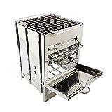 Kit de estufa de leña portátil de acero inoxidable al aire libre, estufa de madera de titanio plegable, cocina picnic viaje barbacoa mini estufa