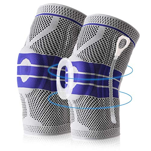 2 Pack Knee Brace Compression Sleeve, Elastic Knee Wraps Patella Stabilizer with Silicone Gel & Spring Support, Hinged Kneepads Knee Protector for Meniscus Tear Arthritis Running Men Women