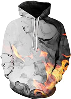 Iuhan Men Sweater Fire Pattern Hooded Casual Long Sleeve Coat Small and Big Sizes for Autumn Winter Hoodie Sweater 3D Printed Casual Work Sport