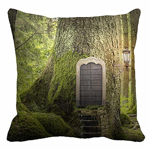 Funda de Cojines 45X45Cm Microfibra Suave Fundas de Almohada Cabaña Green Big Tree para Cojines Decorativos para Exterior Sofá Cama Coche Hogar