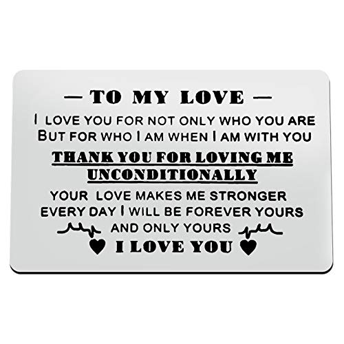 Couple Gift Boyfriend Girlfriend Jewelry Engraved Wallet Inserts Card Gift for Valentine's Day Jewelry Anniversary Card Gifts for Wife Husband Deployment Gifts Birthday Wedding Gift for Men Women