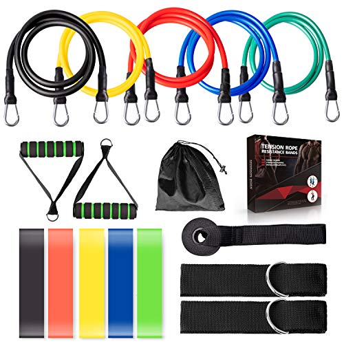 16 Pieces Resistance Bands Set, Workout Bands with Handles for Men Women, Elastic Exercise Bands Stretch Resistant Loop Bands for Fitness, Gym and Yoga, Resistance Band Set for Arms and Legs Training