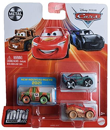 Disney Pixar Cars Mini Racers 3 Pack, High Impact, Fishtail, and Muddy Lightning McQueen
