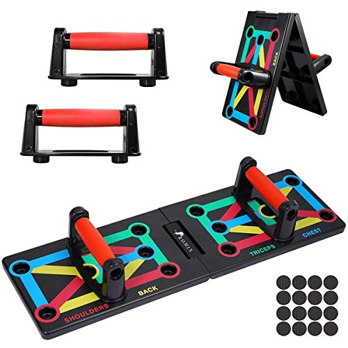 ROMIX Push Up Rack Board, 12 en 1 Multifuncional Sistema Plegable Ejercicio...